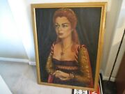Vintage Mertens Painting Wall Art Portrait Red Hair Queen With Red Ruby Neckless
