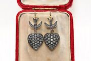 Antique Style 14k Gold New Made Heart Bird Natural Diamond Decorated Earring