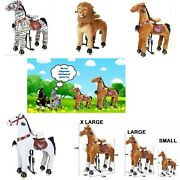 X Large For 2 Small Kids Ride On Pony Toys Scooter Animal Horse Zebra Tiger