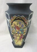 Black Arts And Crafts China Vase With Parrots In Orange And Green Dated 1928