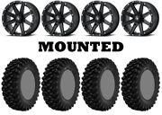 Kit 4 Superatv Xt Warrior Std Tires 30x10-15 On Msa M33 Clutch Matte Black Ter