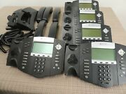 Lot Of 5- Polycom Soundpoint Ip 550 Phone W/ Curly Cord, Handset And Stand -tested