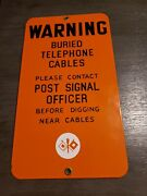 Us Army Signal Corps Porcelain Sign Buried Cable Warning Telephone
