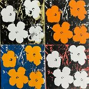 Acrylic And Ink Silkscreen On Original Canvas From 1960s Signed Andy Warhol-4 Pz