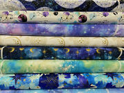 3 Wishes And039magical Galaxyand039 Metallic Cotton Fabric By 1/4 Metre Astrology Stars