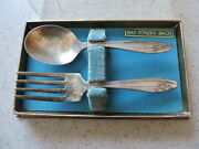 1847 Rogers Bros. Baby Spoon And Fork Is On Back In Box Need Polished 4 1/2