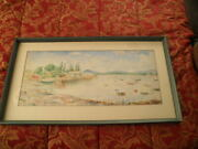 Lot Of Three Vintage Gilbert Watercolor Paintings Under Glass Framed Signed