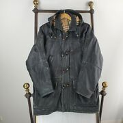 Rare Vtg Burberrys England Size Large Mens Leather Hooded Toggle Duffle Coat