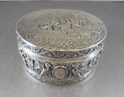 Huge German Sterling Dresser Box W/ Tall Ships Putti. Imported London 1913 Nice
