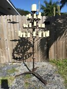 Large Standing 3 Tier Medieval Gothic Wrought Iron Candleabra Candle Light 6 Ft