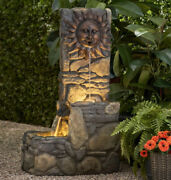 Outdoor Fountain With Led Light Electric Pump 37 Tall Large Wall Garden Tiered