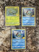Bulbasaur+squirtle Holographic Card And Base Squirtle Mcdonalds 25th Anniversary