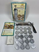 🍪marcato Biscuits Cookie Press W/ 20 Aluminum Discs Made In Italy Baking Spritz