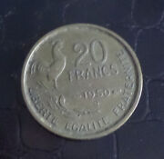 Rare French Coin 20 Francs 1950 France Mint Mark B Beaumont Le Roger