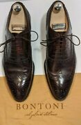 Bontoni Burgundy Wingtip Oxford Shoes Size 8 Made In Italy W Shoe Trees And Bag