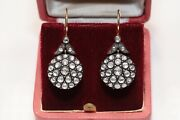 Antique Ottoman Style New Made 18k Gold Natural Rose Cut Diamond Earring