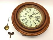 Circular Oak Antique Wall Clock With Workings Octagonal With Pendulum Key Parts