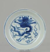 Antique Chinese Porcelain Late Ming Or Transitional Plate Dragon Ruyi
