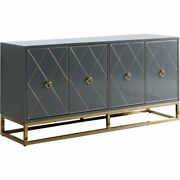 Best Master Furniture Senior 64 Transitional Wood Sideboard In Gray/gold Plated