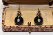 Victorian Style New Made 14k Gold Natural Diamond Decorated Surprise Earring