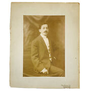 Antique Otto Sarony Cabinet Card Photo Photograph Man In Suit Ike Lefkowitz Ny