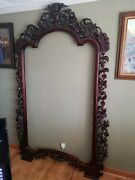 Antique Mahogany Mirror Frame Hand Carved 7and0397 Tall X 4and0396 Wide