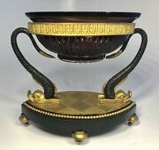 Antique 19th Century French Amethyst Glass Bronze Mounted Fish Centerpiece