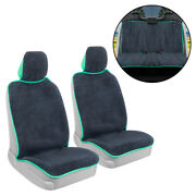 Car Towel Seat Cover Full Set Front And Rear Covers - Sweat Resistant Mint Trim
