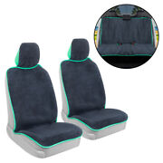 Full Set Car Towel Seat Cover Front And Rear Covers - Sweat Resistant Mint Trim