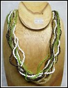 Green White Black Seed Beads Vintage Native American Indian Style Necklace