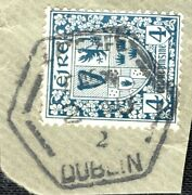 Ireland Eire Stamp 4d Used Dublin Late Fee Postmark Hexagon Dated Piece Xred83