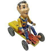 Vtg 1950s Ny-lint Howdy Doody Cowboy Pump-mobile Wind-up Tin Litho Go-kart Toy