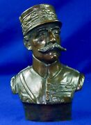 Antique Ww1 French General F. Foch Bronze Bust Sculpture Art By E. Thomasson