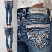 Nwt New Womens Rock Revival Luiza Straight Jeans 25 26 27 29 30 31 32 R And L