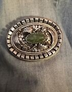 Heavy Signed Vintage Ornate Navajo Green Turquoise Sterling Silver Oval Buckle