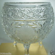 Vintage Pressed Glass Candy Or Fruit Footed Bowl/vase W/hobstar And Etched Flowers