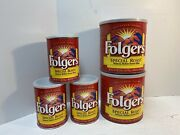 Lot Of 5 Vintage Folgers Coffee Tin Cans Empty Metal - 2 Sizes 13 Oz And 39 Oz
