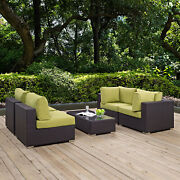 5pc Wicker Rattan Cushioned Outdoor Patio Sectional Set In Espresso Peridot