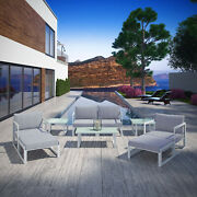 9pc Outdoor Patio Furniture Aluminum Cushioned Sectional Sofa Set In White Gray
