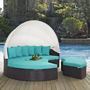 Outdoor Patio Furniture Wicker Rattan Canopy Daybed In Espresso Turquoise
