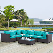 7pc Wicker Rattan Cushioned Outdoor Patio Sectional Set In Expresso Turquoise