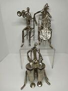 Musical Jazz Trio Metal Figurines, Drums, Horn, And Bass Players