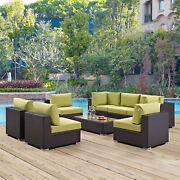 8pc Wicker Rattan Cushioned Outdoor Patio Sectional Set In Espresso Peridot