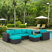 6pc Wicker Rattan Cushioned Outdoor Patio Sectional Set In Espresso Turquoise