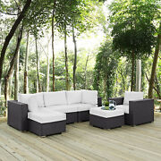 6pc Wicker Rattan Cushioned Outdoor Patio Sectional Set In Espresso White
