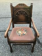 Beautiful Antique Kittenger Wood Chair With Needlepoint Cushion Shipping Avail.