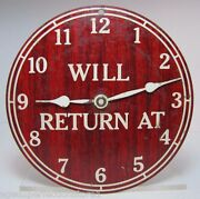 Will Return At / Open Come In Old Double Sided Store Tin Sign Adjustable Hours