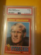 1971 Topps Football Terry Bradshaw Rookie Card 156 Graded Psa 3vg Steelers