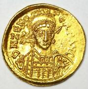 Eastern Roman Empire Zeno Av Solidus Gold Coin 474-491 Ad - Choice Xf / Au