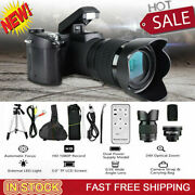 3in 33mp Hd Camcorder Camera Wide Angle Lens + 24x Telephoto Lens + Led + Tripod